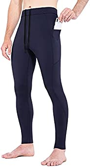 BALEAF Men's Thermal Compression Leggings Fleece Lined Running Tights Pants Water Resistant for Cold Weath