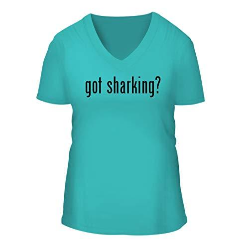 got Sharking? - A Nice Women's Short Sleeve V-Neck T-Shirt Shirt, Aqua, Large