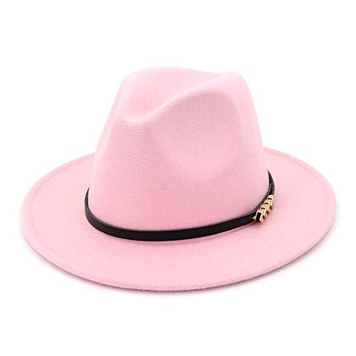 (KKONION Unisex Plain Belt Buckle Decorated Australia Wool Felt Jazz Fedora Hat Men Women Flat Brim Panama Formal Hat Pink)