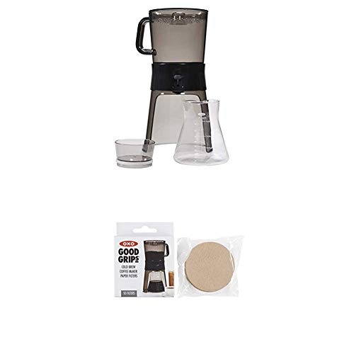 OXO BREW Cold Brew Coffee Maker (32 ounces) with 10 Paper Filters with OXO Good Grips Cold Brew Coffee Maker Replacement Paper Filters, Brown, 50 Per Box