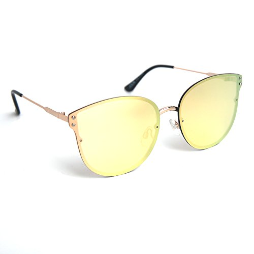 JOOX Fashion Cat eye Mirror Sunglasses UA Protection color Lens Light Metal - Mirror Aviators Gold Lens