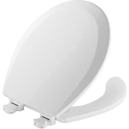 Mayfair Open Front Molded Wood Toilet Seat, Round, White, 440EC 000 - Round Front Bowl Seat