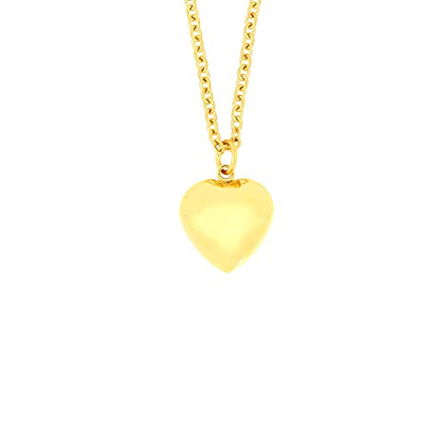 Heart Puffed Plated (Arrow Jewelry Stainless Steel Gold IP-Plated Petite Puffed Heart Charm Pendant Love Necklace, 18