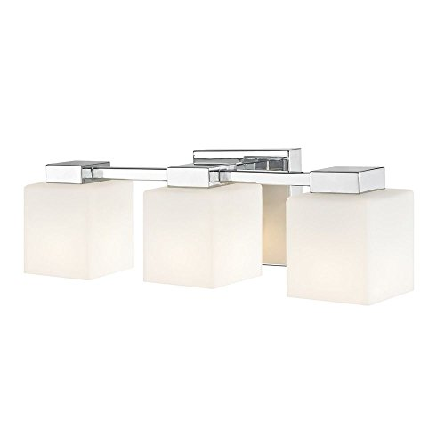 LED 3-Light Bath Light with Square White Glass in Chrome Finish - Classic Chrome Bath Fixture