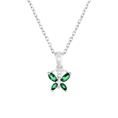 Sterling Butterfly Necklace Simulated Birthstone product image