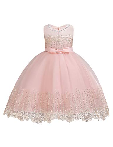 LIEEN Christening Gowns, Girl's Round Neck Cap Sleeveless Satin Belt Slim Fit Tulle Appliques A-Line Fluffy Frocks Enchanting Formal Dress for Newborn Infant Size(90) 1-2 Years Light ()