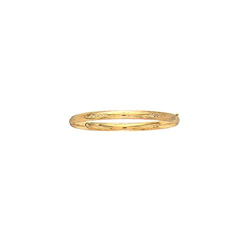 - 14K Yellow Solid Gold Florentine Round Dome Classic 5mm Wide Bangle 8