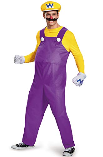Disguise Men's Super Mario Wario Deluxe Costume, Yellow, X-Large -