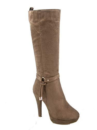 ashion Round Toe High Heel Platform Mid-Calf Boots Shoes (10 B(M) US, Taupe) ()