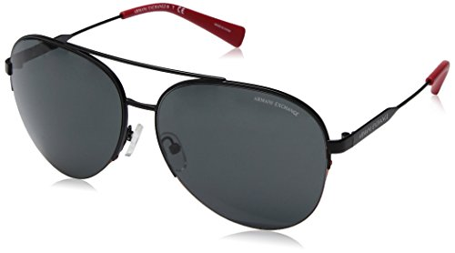 Armani Exchange Men's Metal Man Aviator Sunglasses, Matte Black, 60 mm