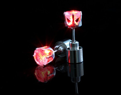 Change 1 Pair Light Up Led Stud Party Multi-color Earrings (Red)
