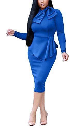 HUANYOU Women's Elegant Vintage Half Sleeve Bowknot Irregular Ruffle Hem Bodycon Club Dress