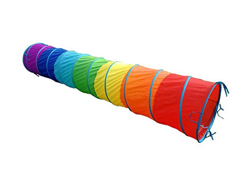 G3Elite 11' Rainbow Play Tunnel with Bag, Indoor/Outdoor, for Kids - Boys/Girls, Also Great for Pets, Fast and Easy Set-Up/Fold-Up, Childrens Portable Playhouse Play Tent - Tunnel Rainbow