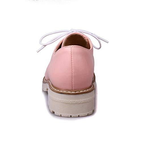 Flats Puro Luccichio Basso FBUIDD006213 Tacco AllhqFashion Rosa Ballet Donna Allacciare Fqw0WnHZ