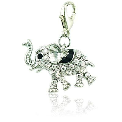 Charms - Large Wholesale Rhinestone Enamel Animal 3D Elephants Charms with Lobster Clasp DIY for Jewelry Making Accessories - by Mct12-1 PCs