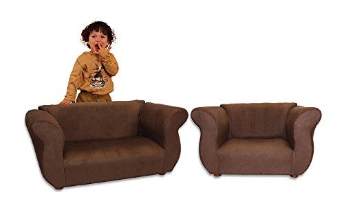 KEET Sofa and Chair Fancy Kid's Set, Brown by Keet