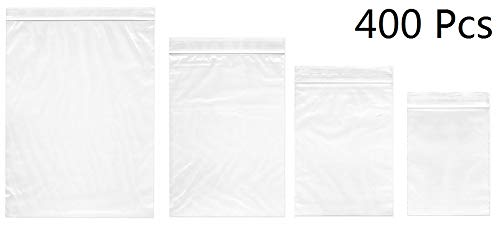 Small Plastic Bags, 400pcs Ziplock Bags 4 Assorted Sizes 2x2 2x3 3x4 3.9x5.2 inch Clear 2 Mil Reclosable Zipper Storage Baggies for Daily Vitamin, Pill, Jewelry, Candy]()