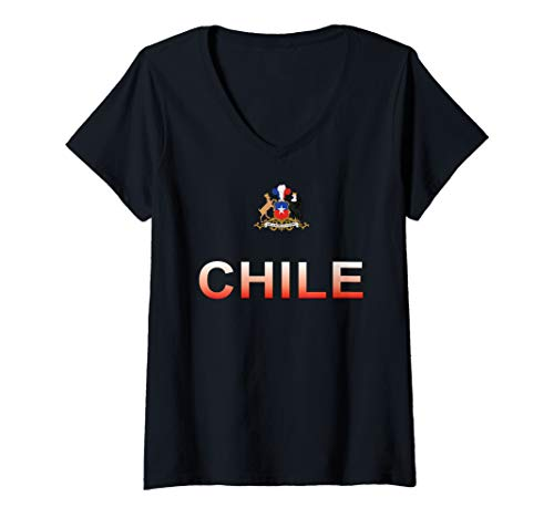 Womens Sports-style Text and Emblem Chile V-Neck T-Shirt