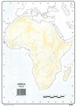 Mapa Mudo África Físico A4 (10 ud.): Amazon.es: Oficina y papelería
