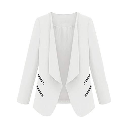 BETTERUU UFACE Women's Long Sleeve Loose Solid with Zipper Coat Cardigan Tops Coat (Chest White Cedar Wicker)