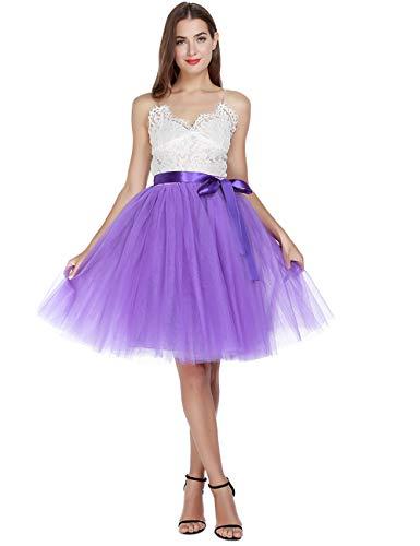 Women's High Waist Princess A Line Midi/Knee Length Tutu Tulle Skirt for Prom Party Purple -