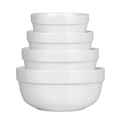 8' Dinner Bowl - 4 Piece Porcelain Serving Bowls, Ceramic Mixing Bowl Set with Anti Slipping Design, White Nesting Bowls for Cereal Soup Salad Fruit (Diameter:4.5 Inch,5.5 Inch,7.2 Inch,8 Inch)