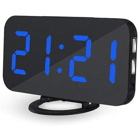 Weinhsl Creativo Led Digital Alarma Reloj De Mesa - Negro Azul Dispaly: Amazon.es: Jardín