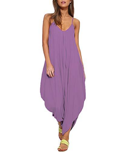 Auxo Women Jumper Harem Jumpsuit Print V Neck Summer Romper One Piece Jumpsuit Playsuit Light Purple L