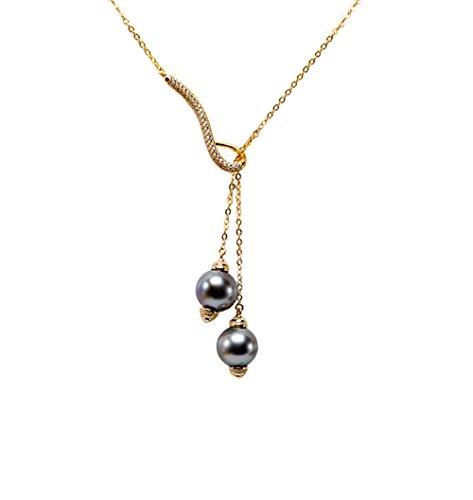 JYX Tahitian Pearl Pendnat 10mm Black Round Tahitian Cultured Seawater Pearl Pendant Necklace for Women Jewelry ()