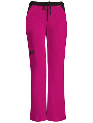 Dickies 'Jr. Fit Low-Rise Drawstring Cargo Pant' Scrub Bottoms Hot Pink Medium Petite