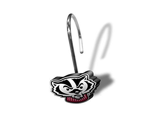 NCAA Wisconsin Badgers Shower Curtain Ring Set, 12 Piece