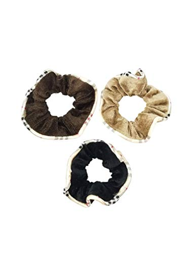 (Evogirl Rubberbands Scrunchies Velvet Quilted Print Basic Shades Ponytailers Black,Brown,Beige Medium Size for Women/Girls)