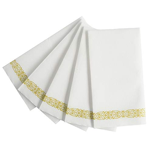 Zdada 150PCS Disposable Hand TowelsSoft and Absorbent Towels with Gold Floral Decoration Hand Napkin for Guest WeddingBathroomBanquetDinnerParty