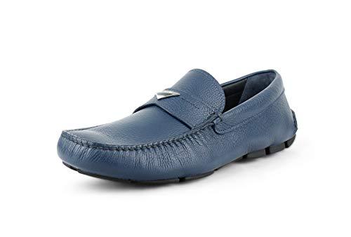 (Prada Men's Pebbled Leather Driver, Oltremare (Blue) (9.5 US / 8.5 UK))