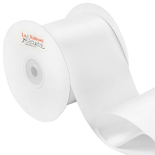 LaRibbons Double Face Satin Ribbon Roll, 3 inch Wide, White, 25 Yards -