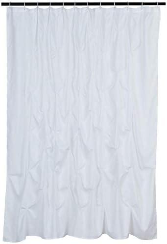Amazon Basics Pinched Pleat Bathroom Shower Curtain - White, 72 Inch