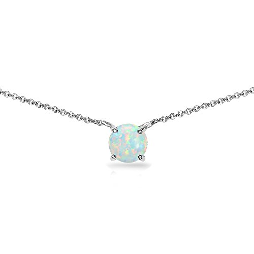 Sterling Silver Simulated White Opal 7mm Round-cut Dainty Choker -