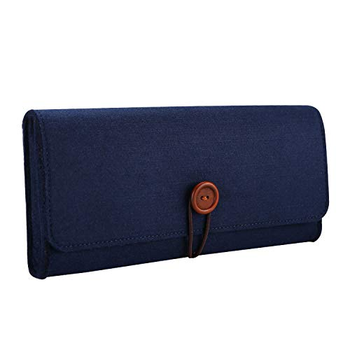 ProCase Carrying Case Compatible with Nintendo Switch, Portable Travel Carrying Bag Ultra Slim Protective Felt Pouch for Nintendo Switch 2017 with 5 Game Cartridges Holders -Navy