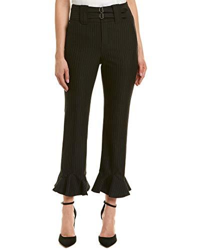 Rebecca Taylor Women's Pinstripe Ruffle Pants, Navy Combo, 6