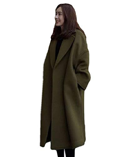 Abetteric Women Lapel Wool Blend Thicken Fall Winter Open Front Jacket Coat 1 S