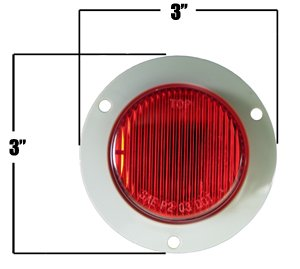2' Red Flange Mount Marker Trailer Truck Boat Light GPD