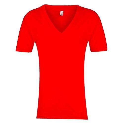 American Apparel Unisex Short Sleeve Deep V-neck T-Shirt (XL) (Red)
