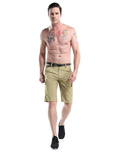 OCHENTA Men's Outdoor Expandable Waist Lightweight Quick Dry Shorts Khaki Tag 34 - US 32 by OCHENTA (Image #4)