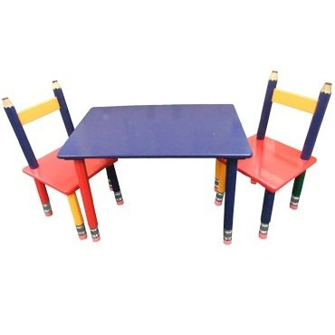 Wooden Pencil Table and 2 Chairs Unbranded