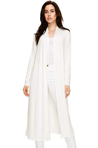 EttelLut Maxi Long Open Front Lightweight Cardigan Sweaters Regular Plus Size Cream XXL - Cardigan Wrap Oversized