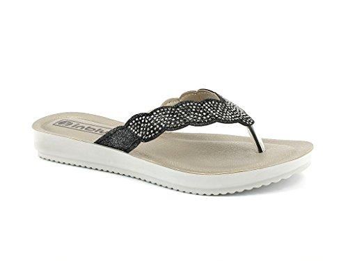 Glisser Confort Les Été Open Plates Sandales Poids Tous Dames Diamante sur léger Jours Décontractée Chaussures Femmes Taille Noir Toe H40ARW6