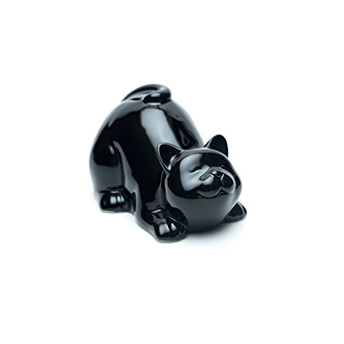Emin Decor Ceramic Happy Cat Piggy, Coin Bank (Lying, Black)