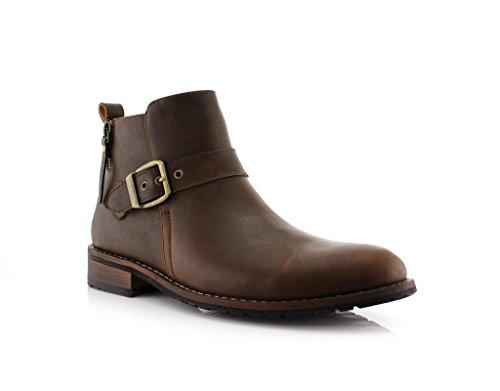 New Mens Designer Buckle Accent Distressed Round Toe Dress Boots Brown JXTxRK1w