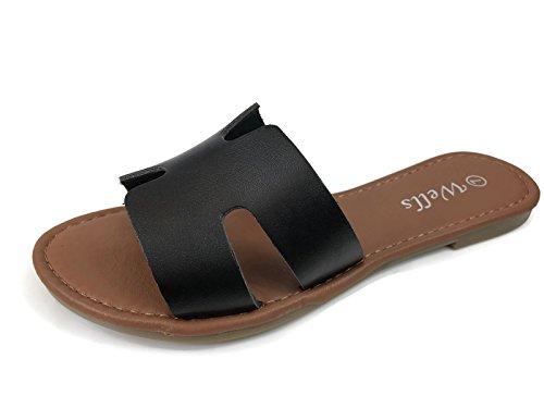 7e71a82ca63 Jual Wells Collection Womens Slip On Slide Flat Sandal Notch Cut ...