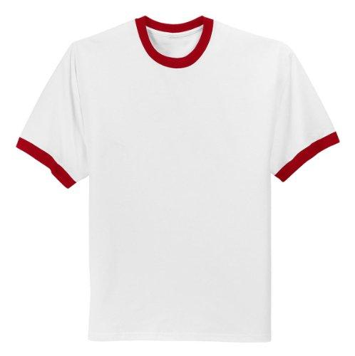 Company T-shirt Ringer - Port & Company Men's Ringer T Shirt L White/Red